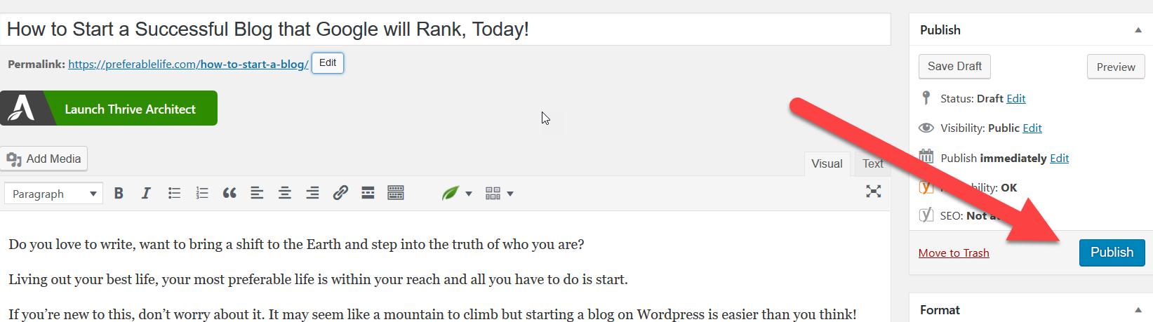 hit publish in wordpress