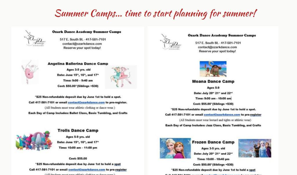 ozark dance summer camps