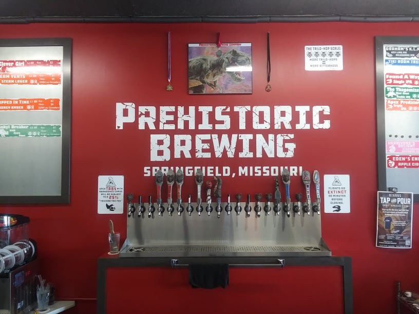 Taps at Prehistoric Brewing Company